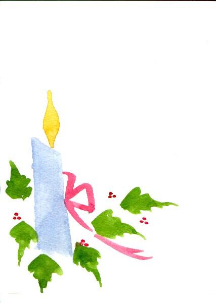 CIJ Handpainted Greeting Card Candle Holly Berries Seasons greetings Watercolor Art Christmas Women Teens Blank Red Greenunder 10