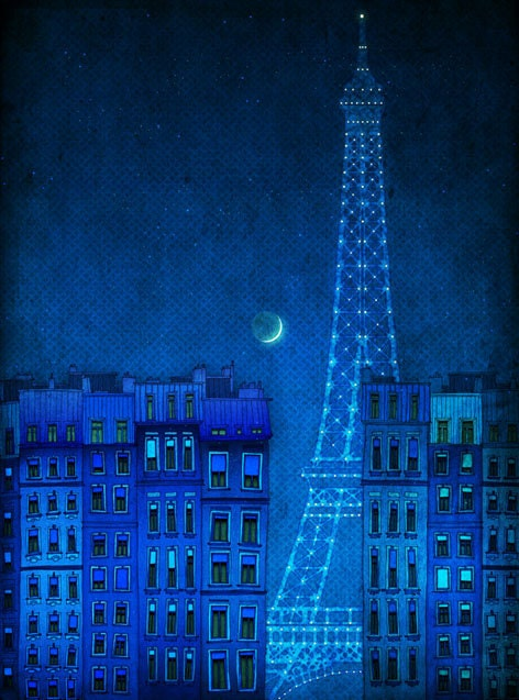 The lights of the Eiffel tower  - Paris illustration - Paris art illustration print - Paris decor -Love, turquoise, blue, France, French