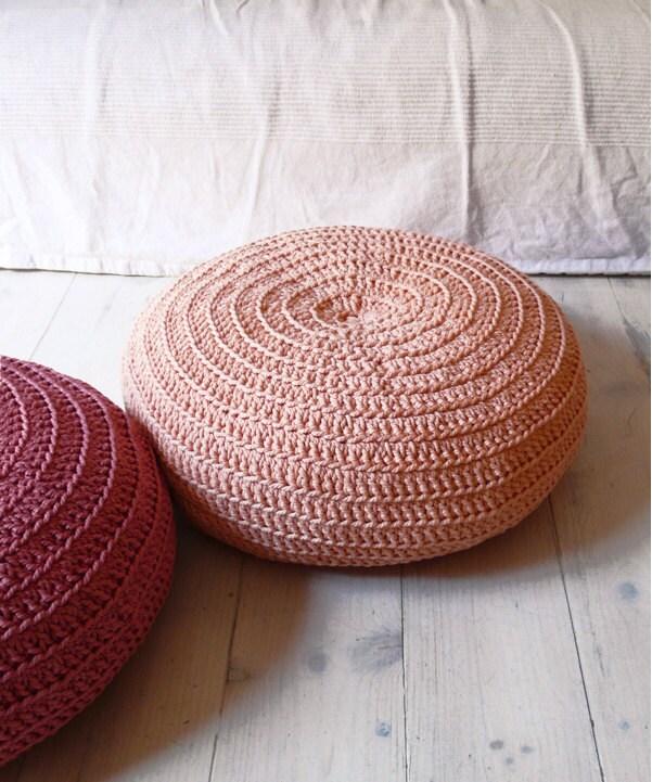 Floor Cushion Crochet- salmon pink