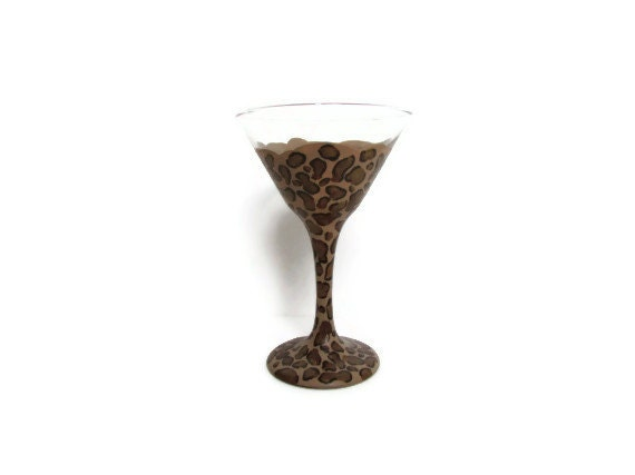 Martini glass, Cheetah print Painted Martini glass leopard print wine glass
