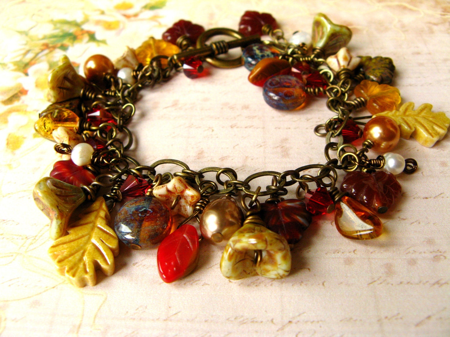 Rich Fall Leaf Charm Bracelet - Leaves, Red, Rust, Brown, Yellow, Pearl - RachelRode