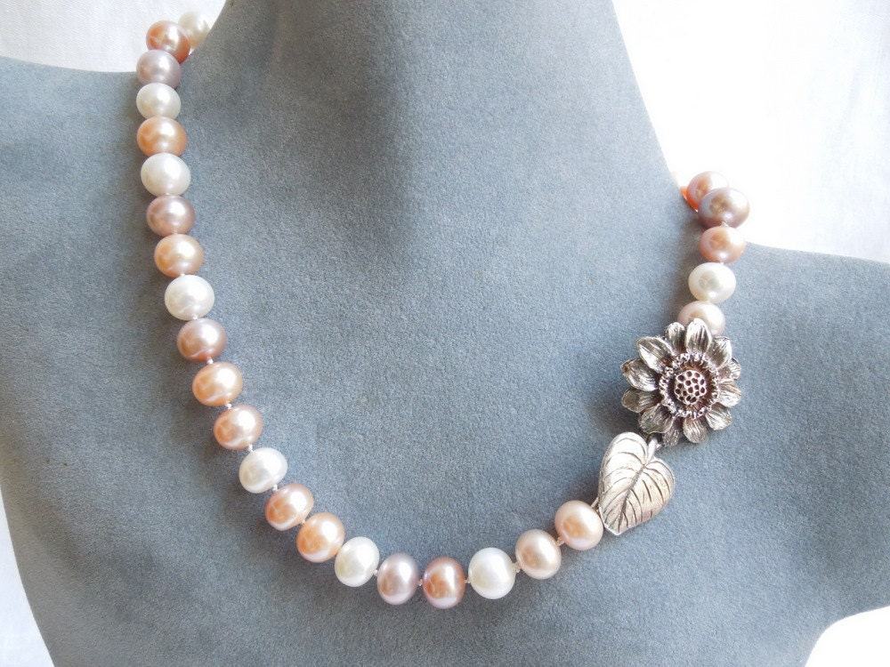 Pastel Pearl Necklace: Pink, Peach, Lavender, Flower Clasp - seemomster