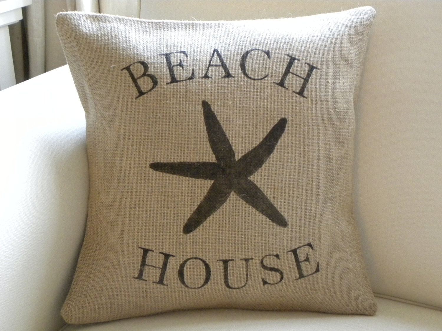 Burlap beach house starfish sea star pillow cover - TheNestUK