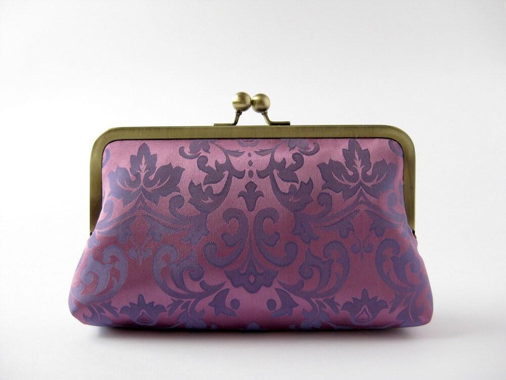 Royal Purple Clutch bag in silk lining Bag Noir - BagNoir