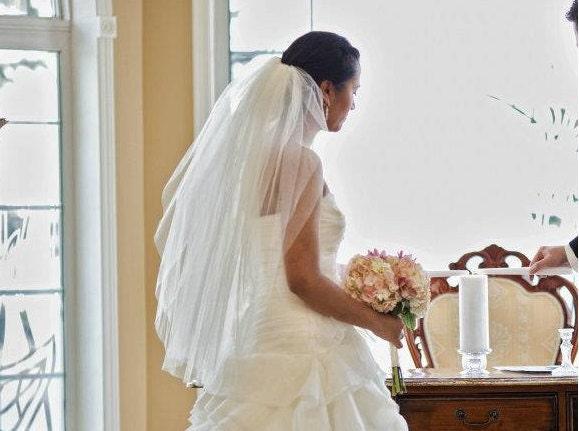 Waist length, 30 inches, 2 tier wedding veil with blusher, bridal veil - white, diamond white, or ivory