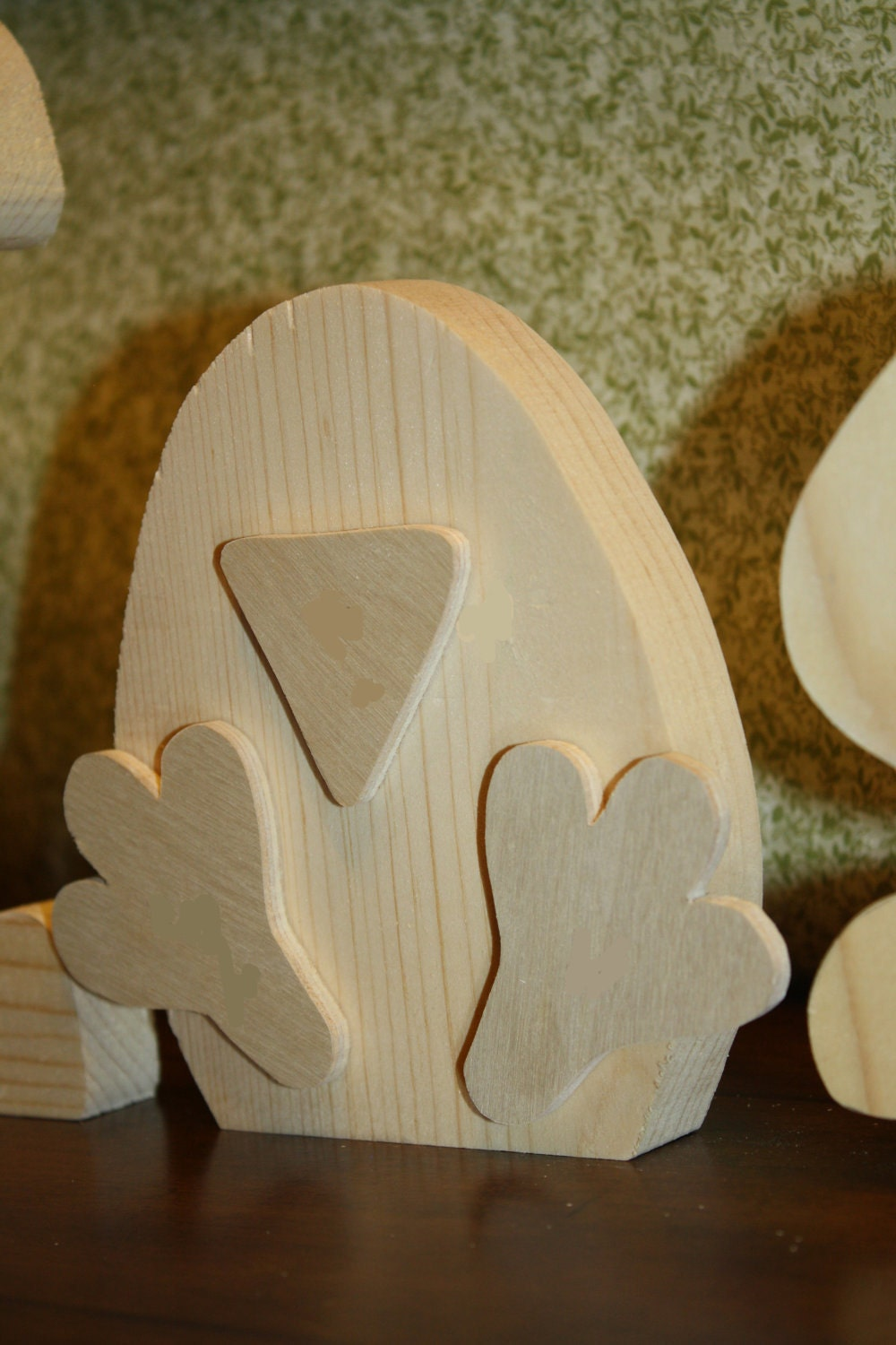 """UNFINISHED  Easter wood letters with a chick as the """"A""""."""