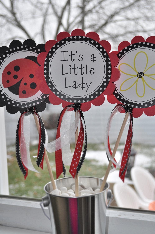 Ladybug baby shower table ideas photograph centerpiece sti