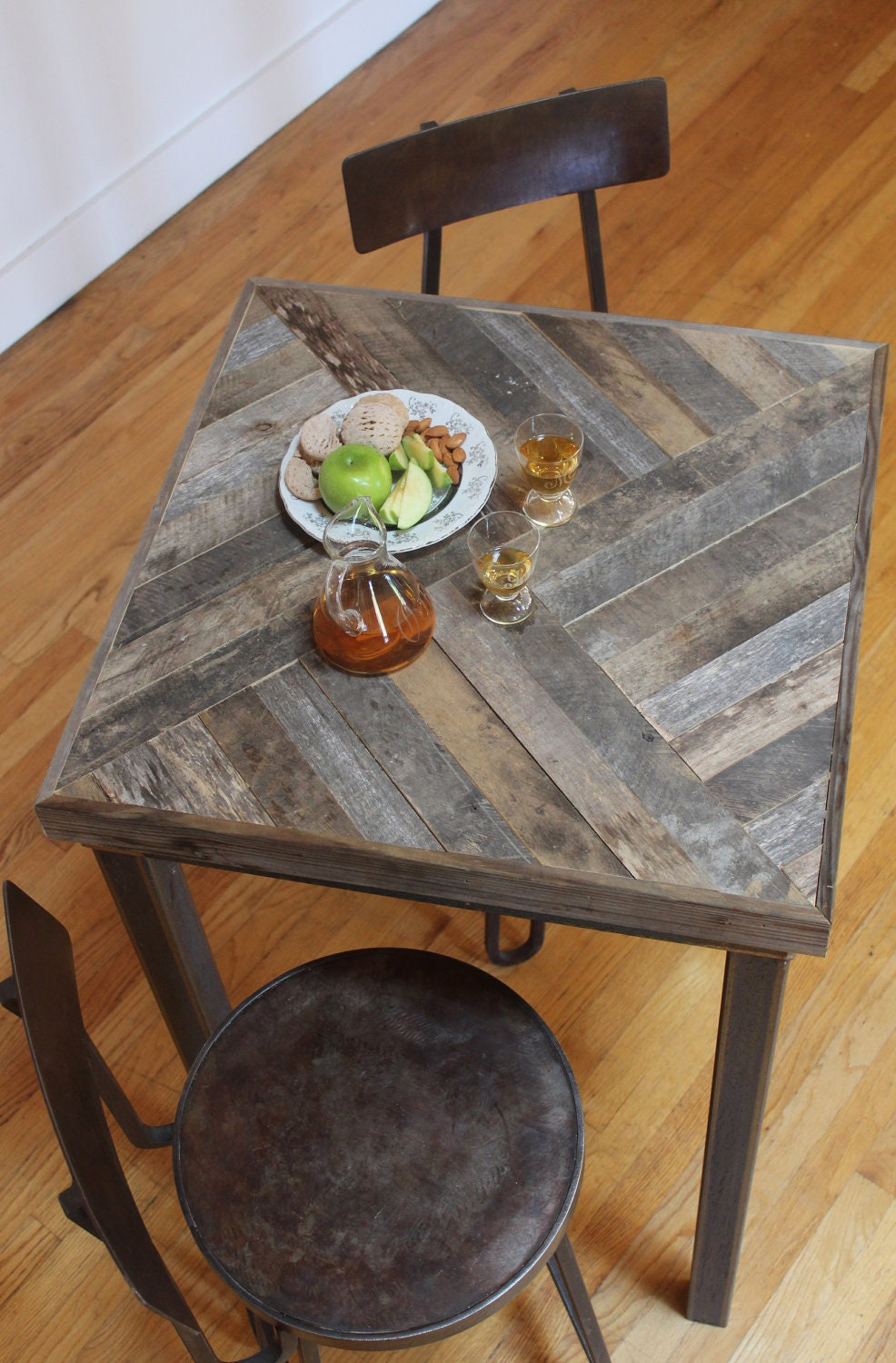 Reclaimed pallet and barn wood pub table kitchen by for Muebles hechos con palets