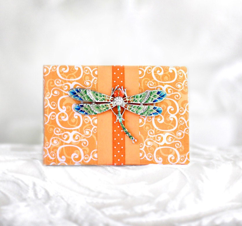 Dragonfly Blank Book Journal Scrapbook Photo Album Autograph Orange Aqua Bug Insect Garden Woodland Wings Polka Dot Darling Darlene - KandiceInWonderland