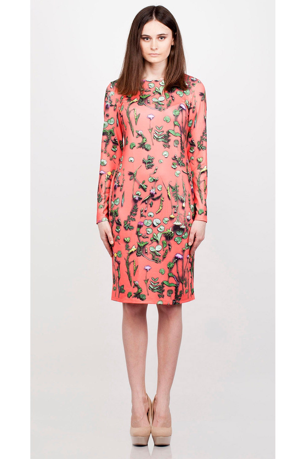 Juicy Orange floral dress - QooQooFashion