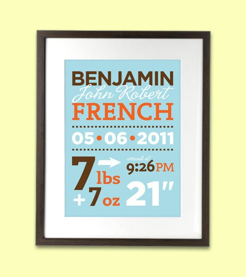 Personalized Birth Stats Announcement art print for baby nursery wall 8 x 10 - printed on eco friendly recycled paper