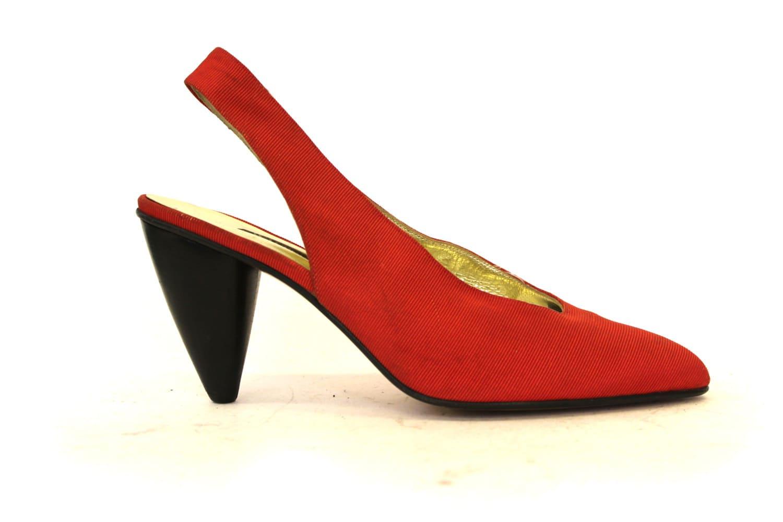 Size 5 Vintage 1980s Walter Steiger Red Pointed Heels - GeorginaGoodman