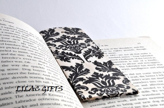 Decoupaged Wooden Bookmark  black and white damask