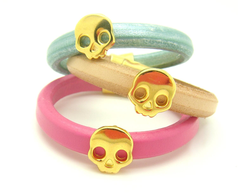 Gold Skull Bracelet - Natural Beige Leather Cuff Bracelet w/ Magnetic Closure