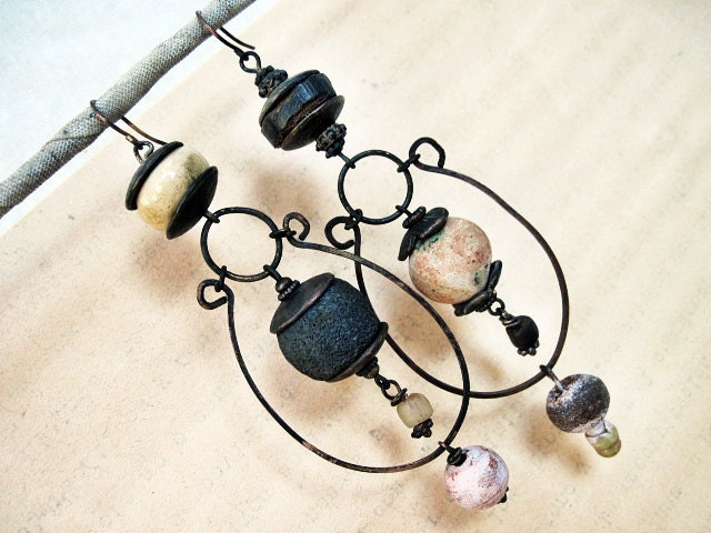 Tribal Dangles with Ceramic Art Beads. Rustic gypsy asymmetrical assemblage.
