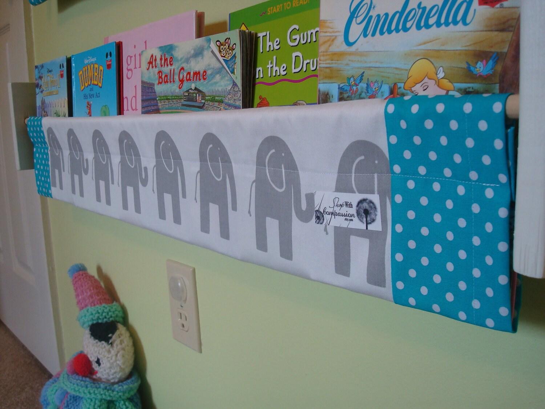 Book Storage Sling -  Grey elephant turquoise book storage shelf gender neutral nursery decor
