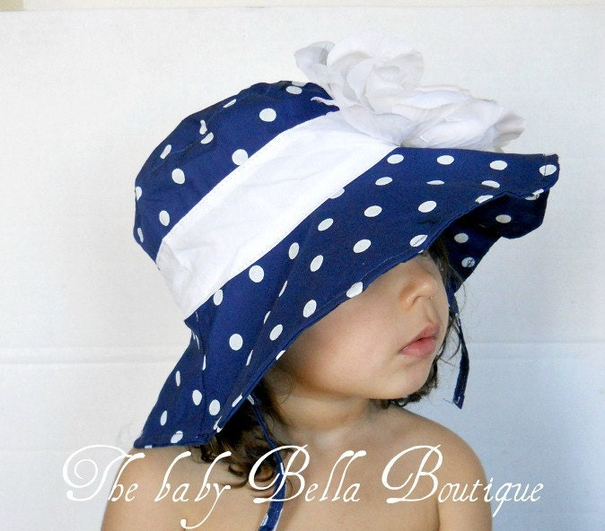 Toddler-Infants Baby Girl Sun Hat, Navy blue and white polka dot  flower sun hat ,polka dots hat. - TheBabyBellaBoutique