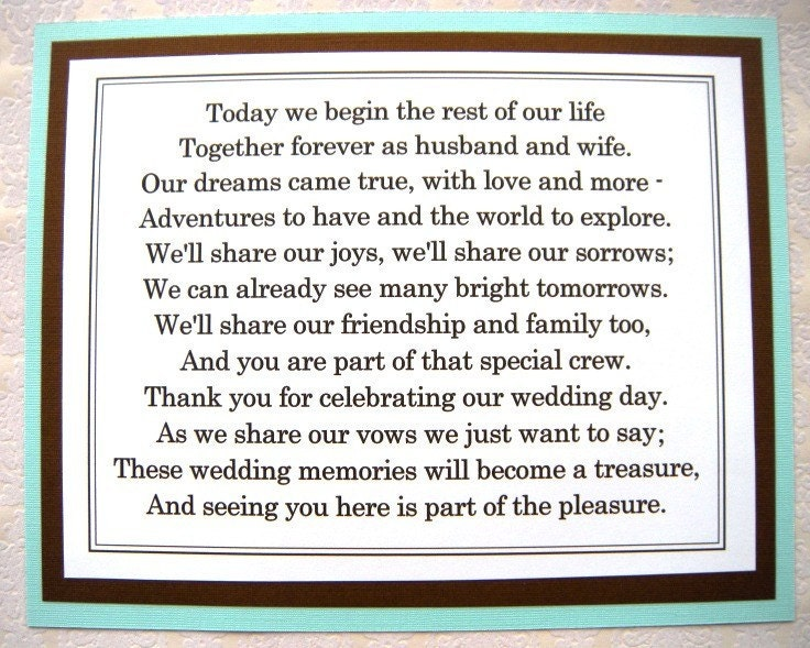 8x10 Flat Tiffany Blue and Brown Thank You for Celebrating Our Wedding Poem
