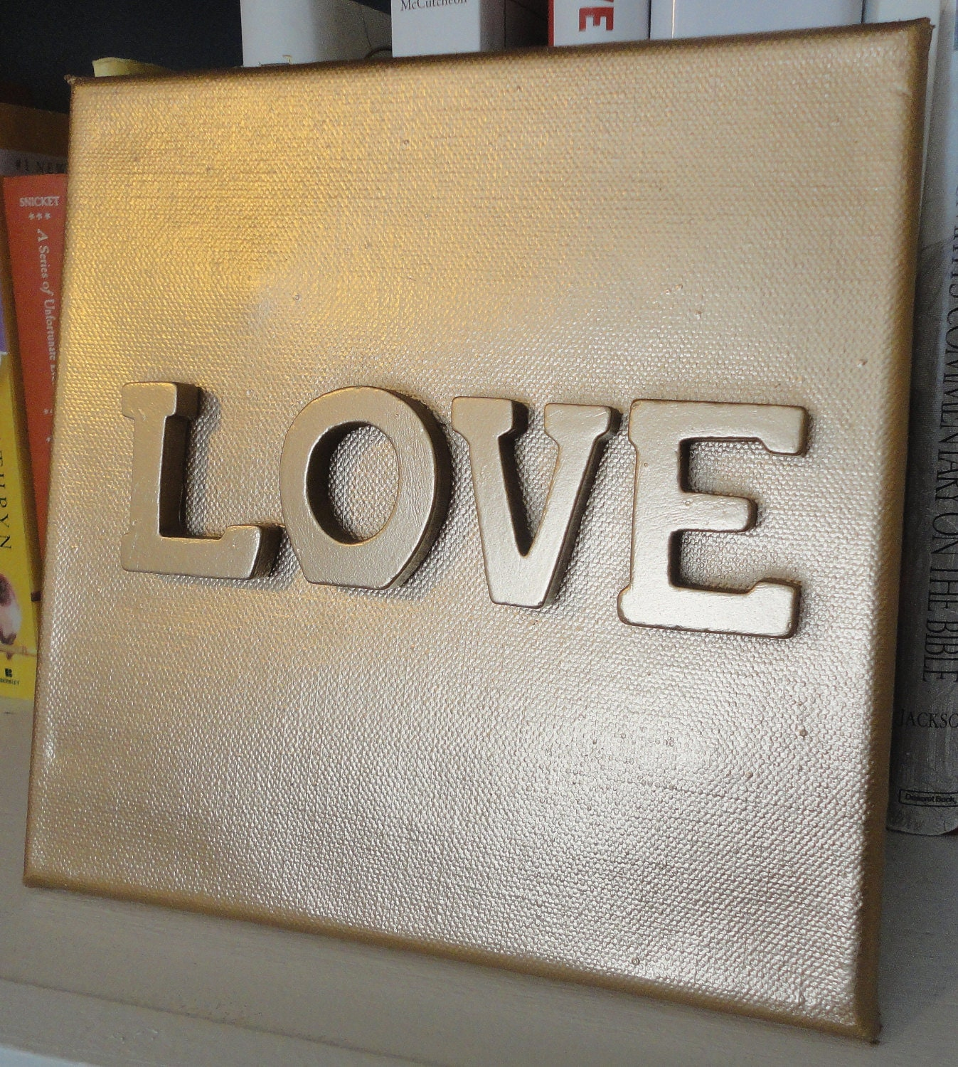 8 X 8 Gold Canvas - Love