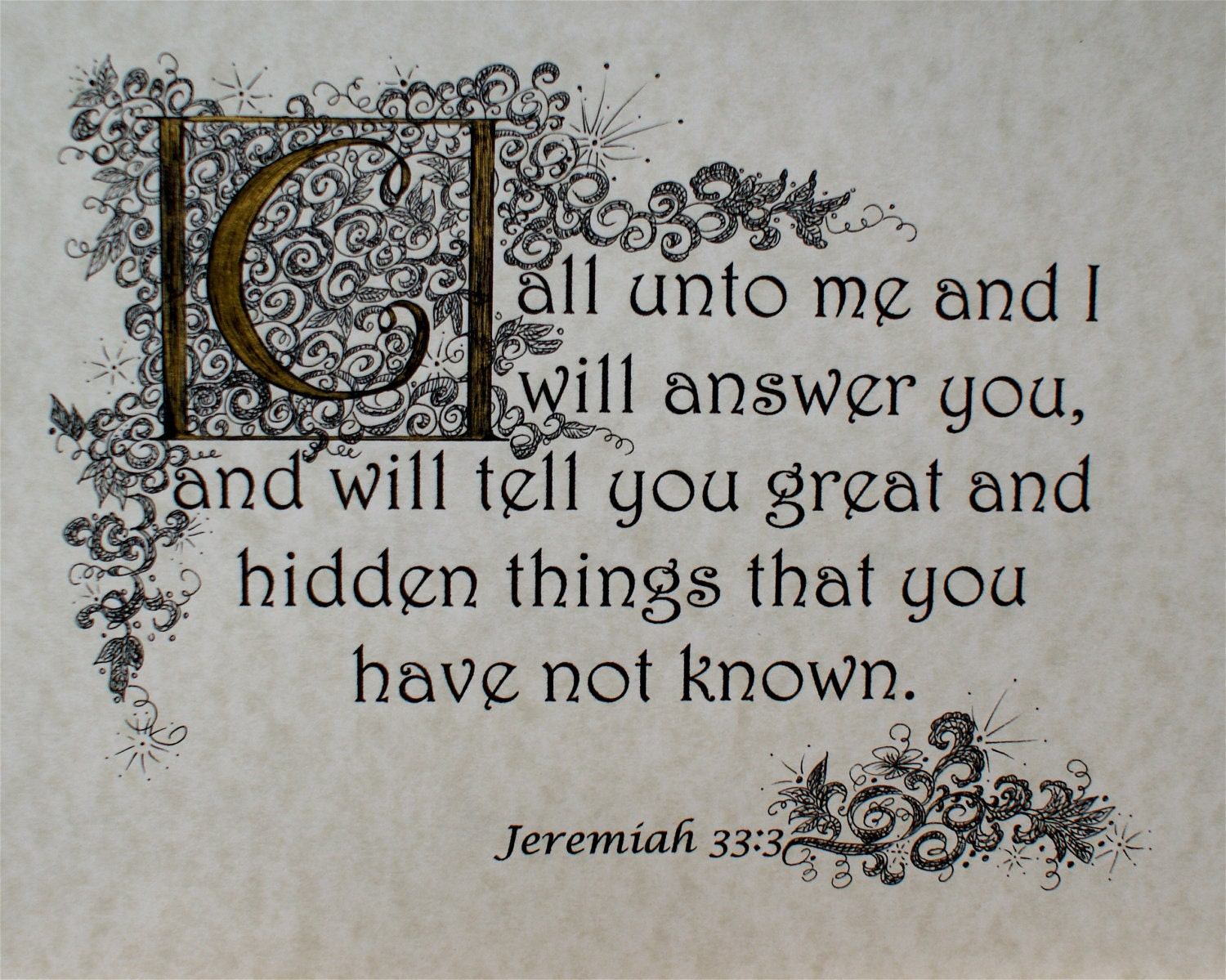 Graduation gift, Calligraphy Custom, Inspiration, Encouragement,  Bible Scripture Verse, Jeremiah 33, verse 3
