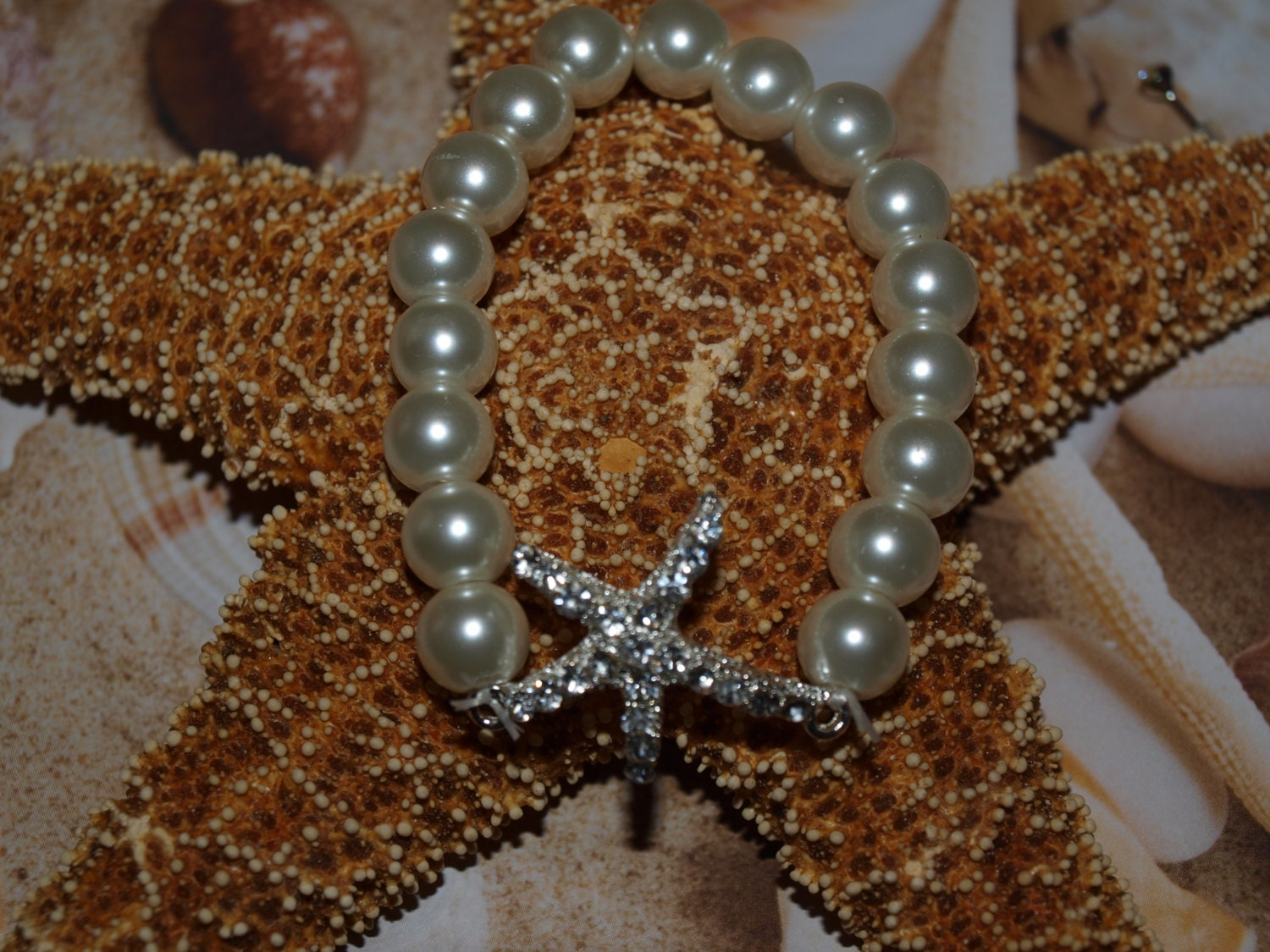 Starfish Rhinestone Pearl Bracelet - Beach Wedding Jewelry