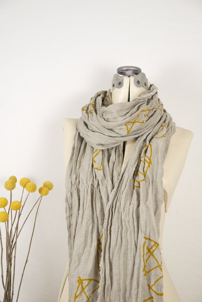 Leaf, natural linen scarf, swedish mustard - SometimesJane