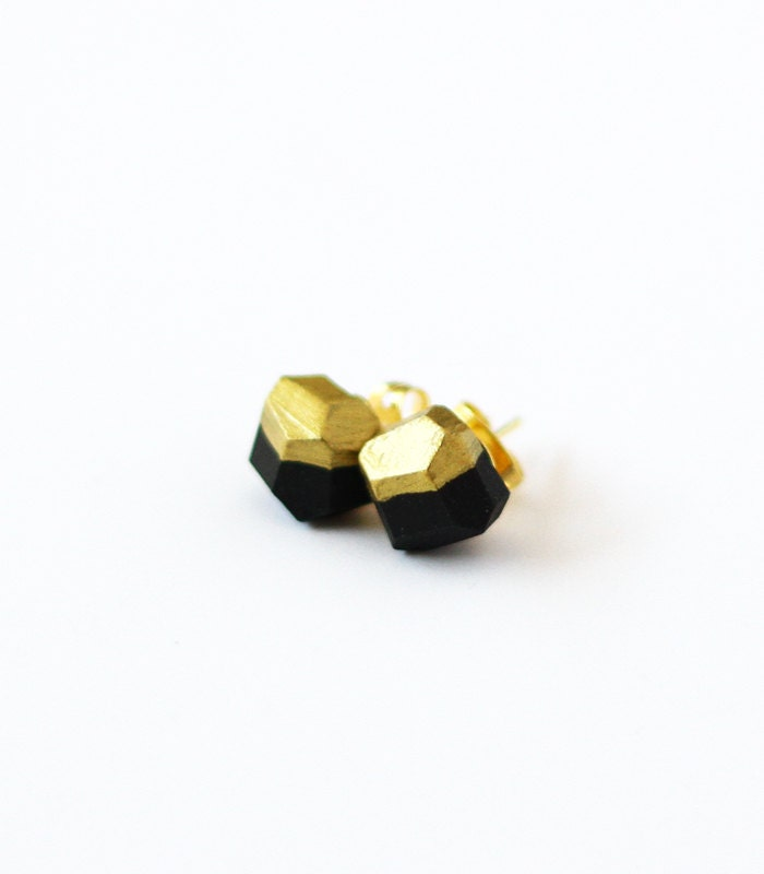 black gold dipped earrings - amerrymishap