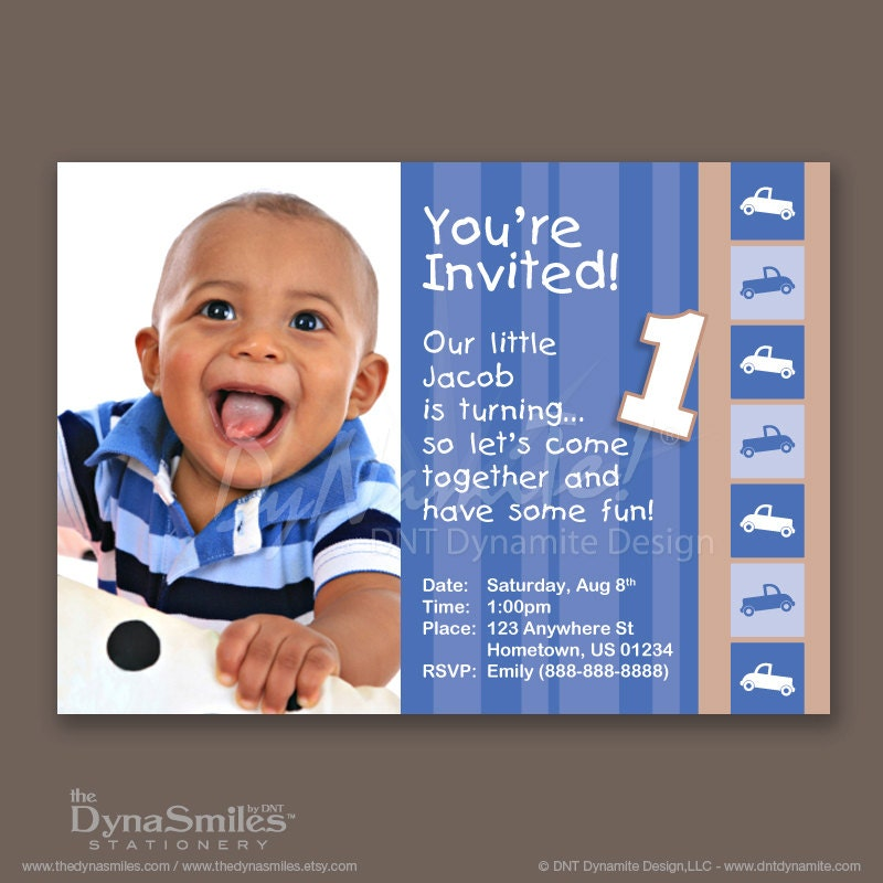 Baby Boy 1st Birthday - Photo Invitations