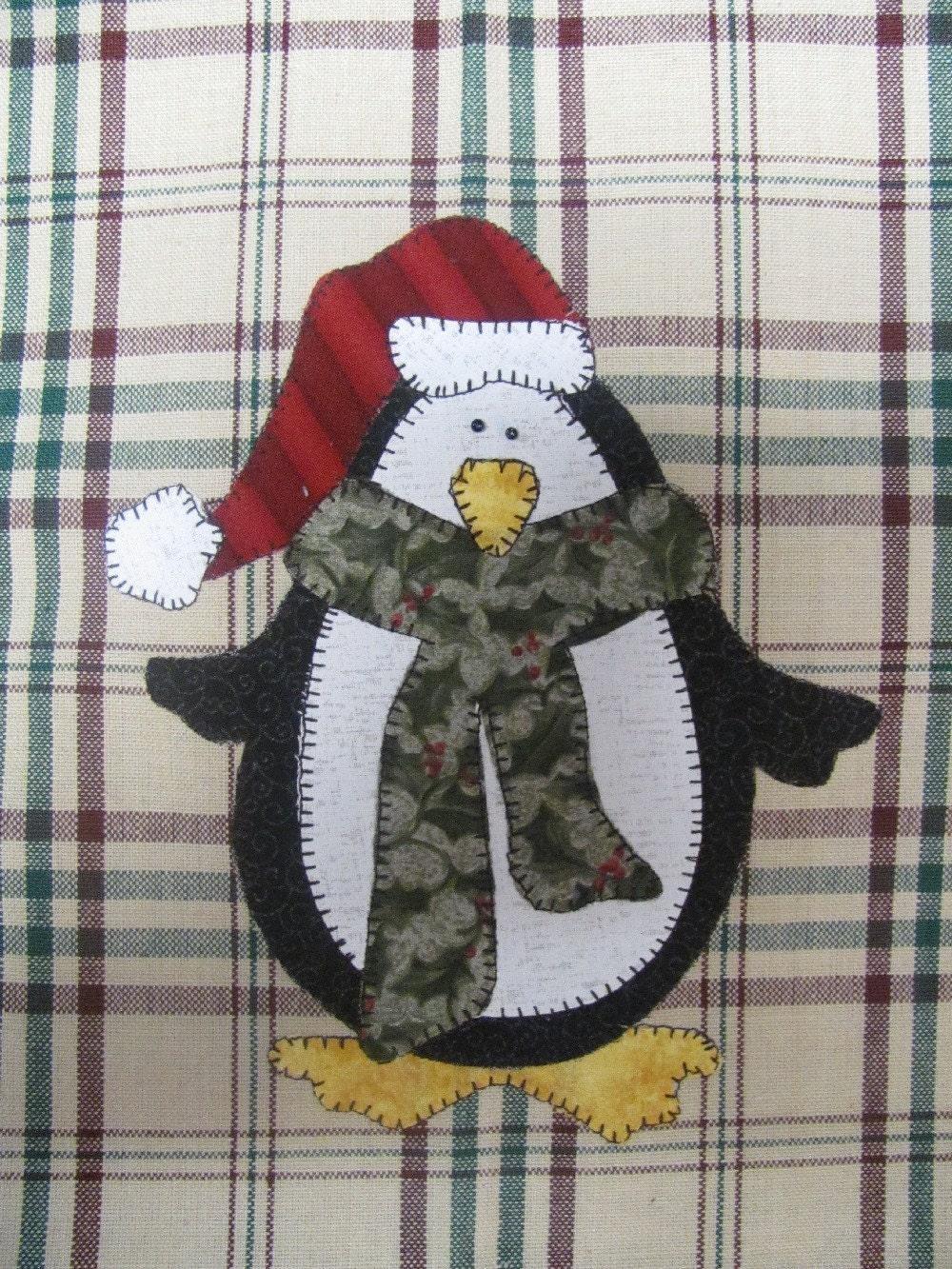 Jolly Penguin Applique PDF Pattern for Tea Towel