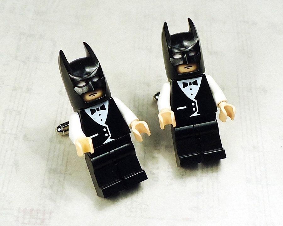Full body Batman black with black and white wedding tuxedo LEGOS on silver