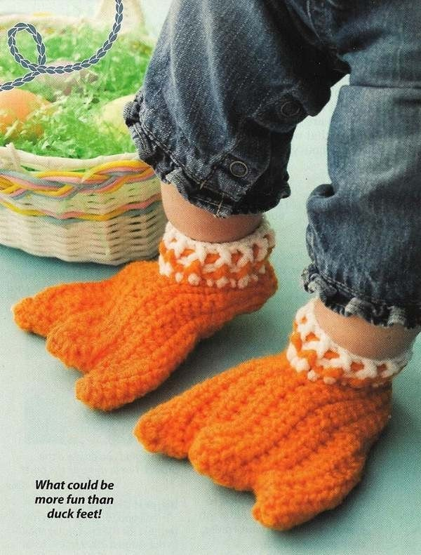 Y008 Crochet PATTERN ONLY Duck Feet Only Adult or Baby Slipper Bootie