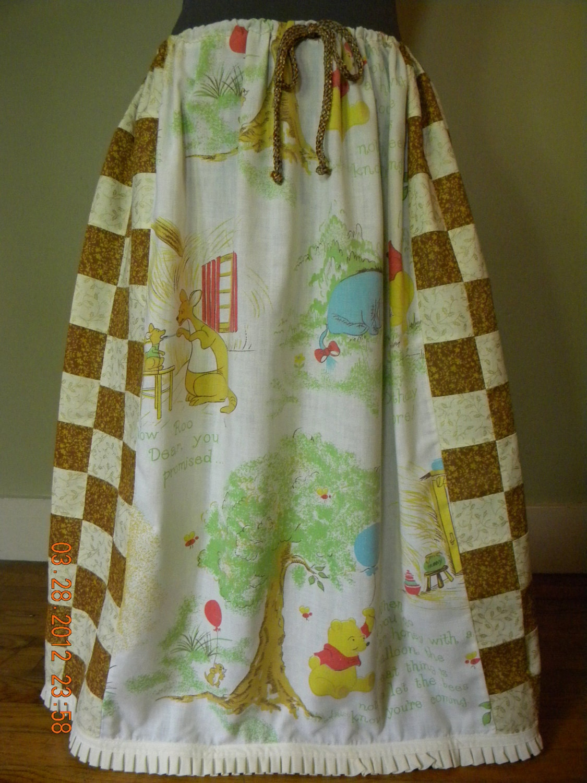 Vintage Winnie the Pooh Patchwork Hippie Skirt