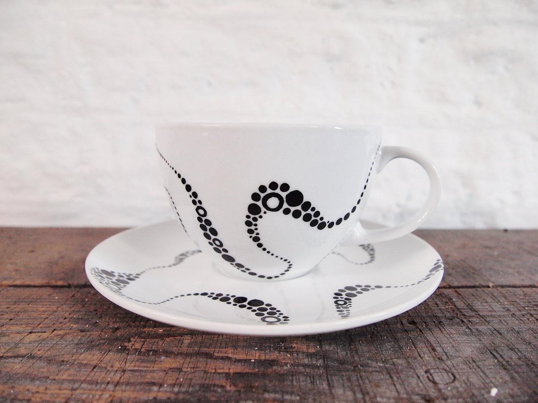 Hand Painted Teacup - Kraken Patterns, black & White