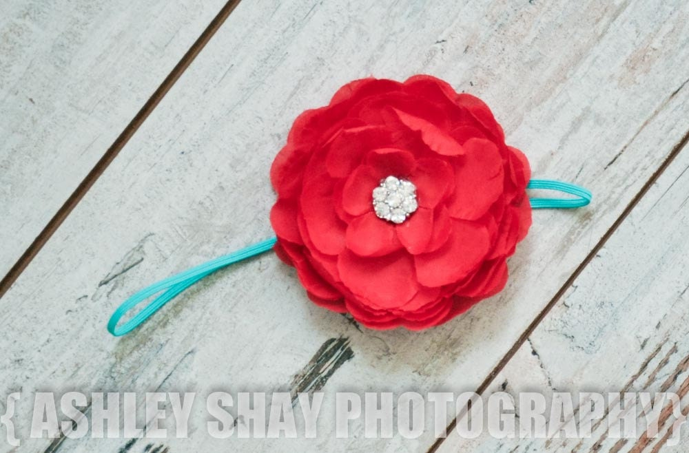 NEW - Large Red Silk Flower on a Skinny Turquoise Stretch Headband - Valentine's, 4th of July, Summer, Spring, Birthday
