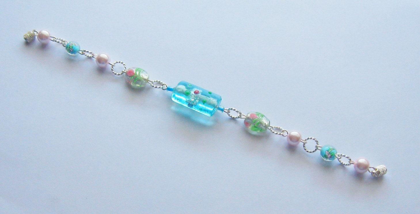 Aqua, Pink & Green Flower Lampwork Bead Link Bracelet