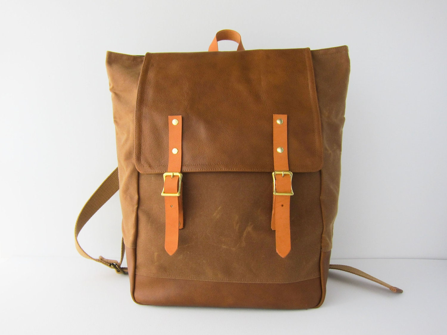 Backpack No.5 Dual Look -- Cinnamon Brown Waxed Canvas with Leather - buluchu