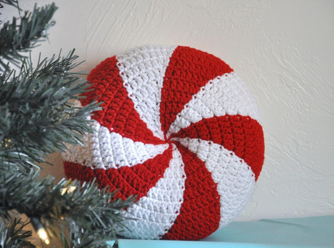 Peppermint Twist Pillow Cushion Christmas Home Decor Photo Prop Candy - AllThingsGranny