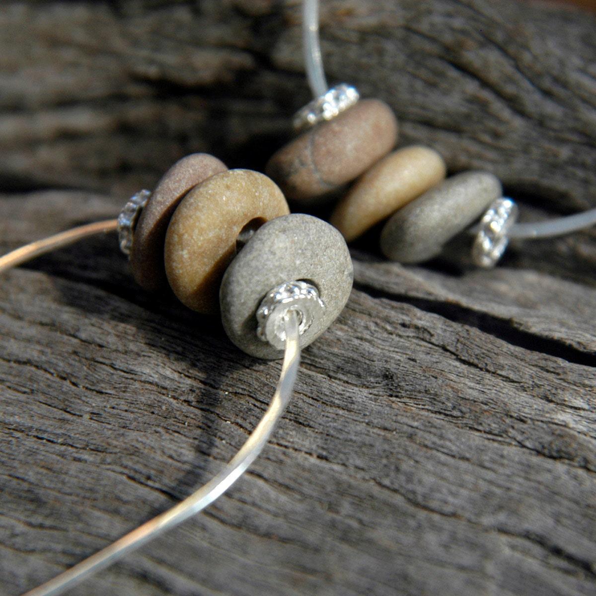 Beach Pebble Earrings with Sterling Silver U-Shaped Hoops. - Wearable Beach Art