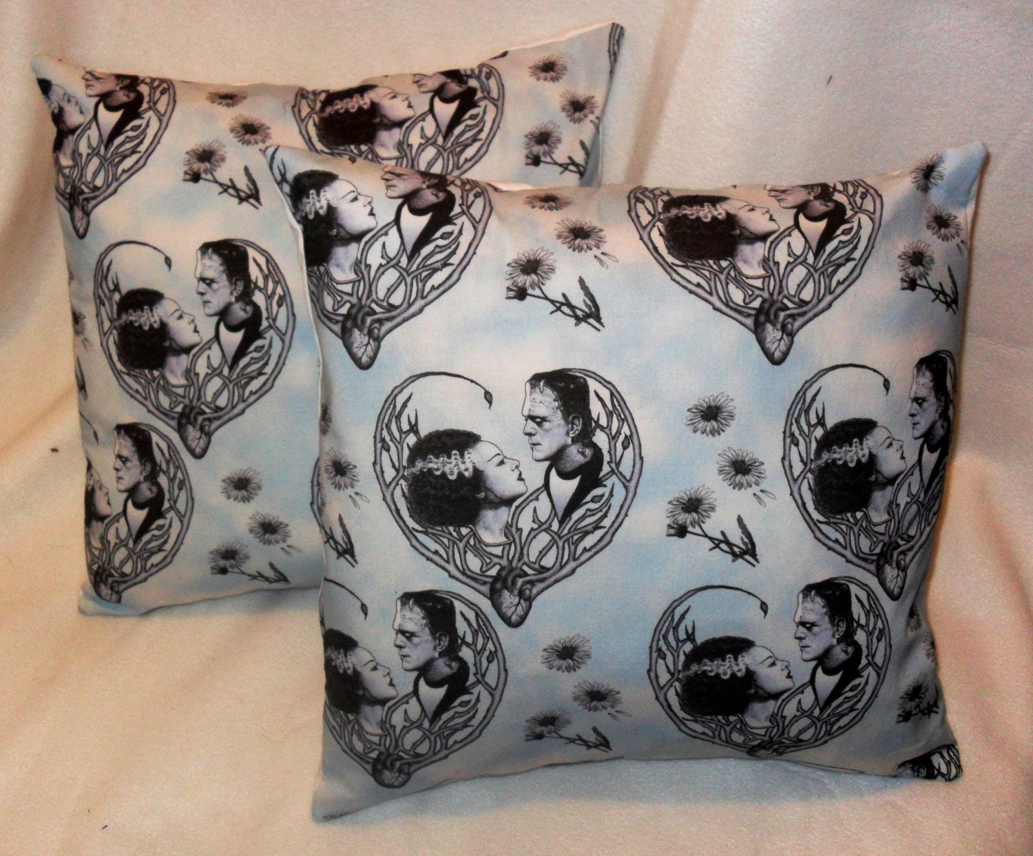 Frankenstein and Bride pillow covers