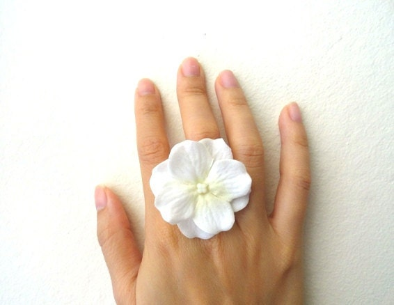Ivory white flower ring ... hydrangea cluster on adjustable ring