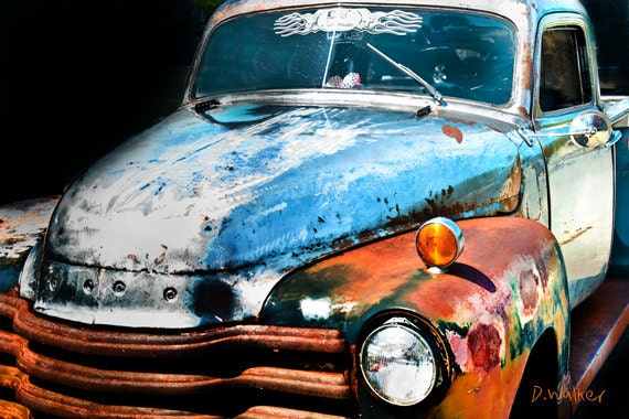 hotrod TRUCK- Rust is a color - bare blue metal orange rust - car art -mancave decor- abstract photo 8x12 - dorataya