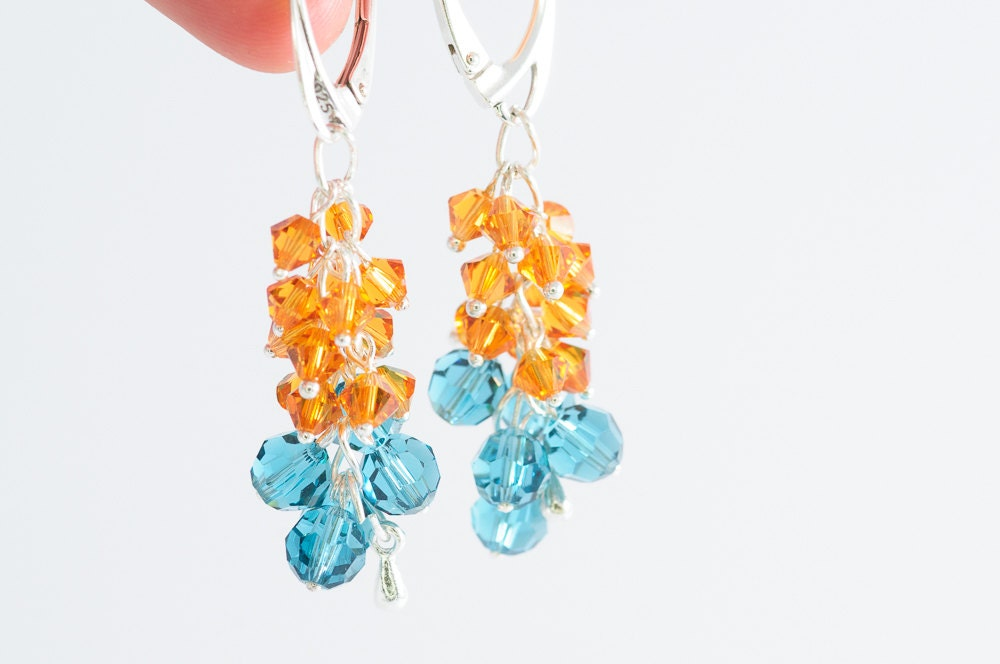 Summer Cluster Earrings Beadwork Swarovski Crystal Earrings Orange Blue Summer Fashion Jewelry - DevikaBox