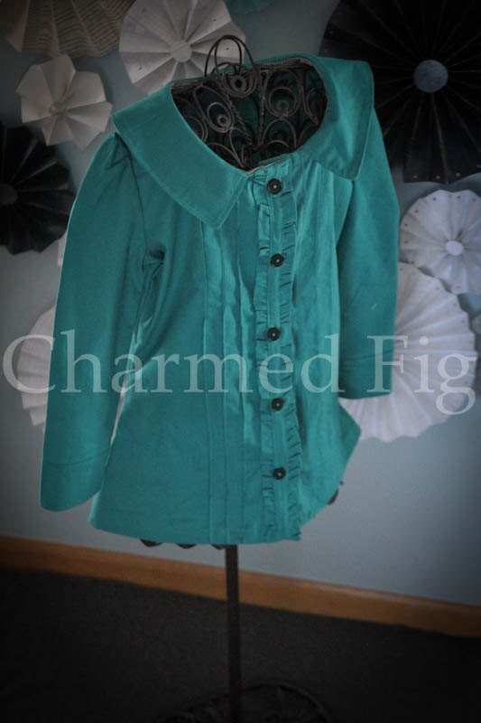 Aqua Ruffled Tunic - Made to order