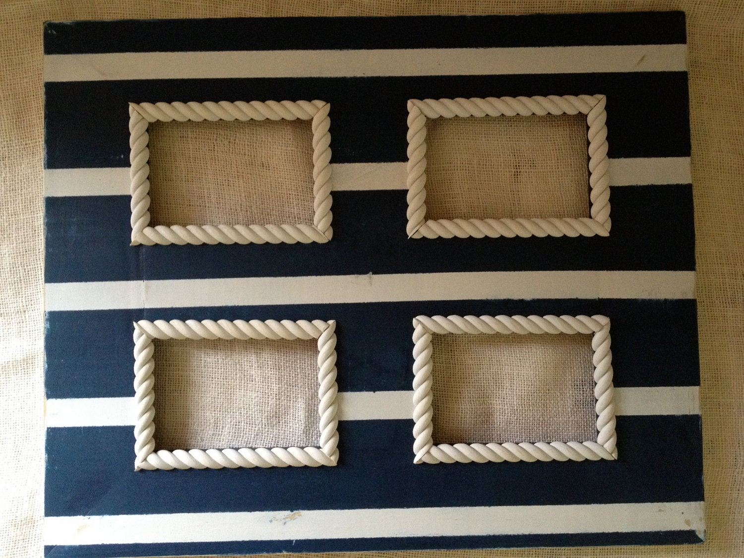multiple opening distressed collage picture frame nautical stripes navy blue and cream 5x7