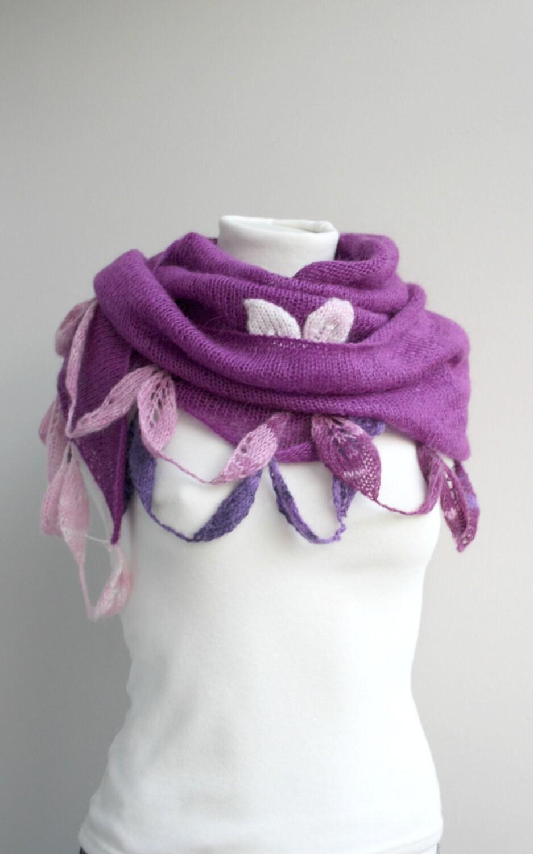 حمل و نقل رایگان موی خرگوش یا مرغوز پشم بنفش مثلث شال با استفاده از طراحی روی پارچه برگها هدیه برای زنان برای دختران برای مادر