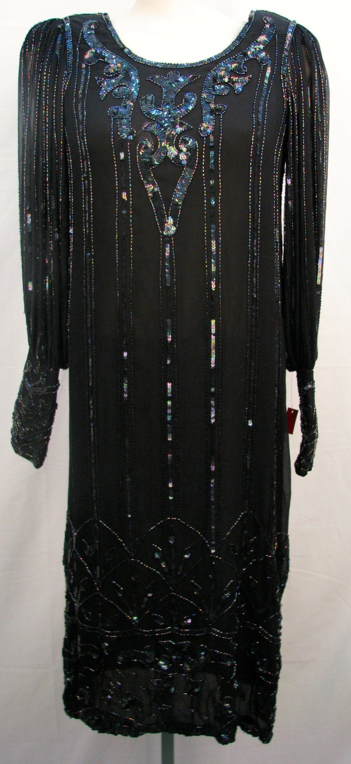 Black Sequinned dress Flapper Style silk