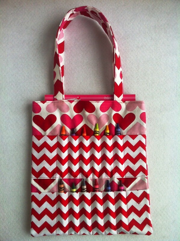 Childrens Valentine Pink and Red Heart Coloring Tote Bag comes w/ Coloring Book & Crayons