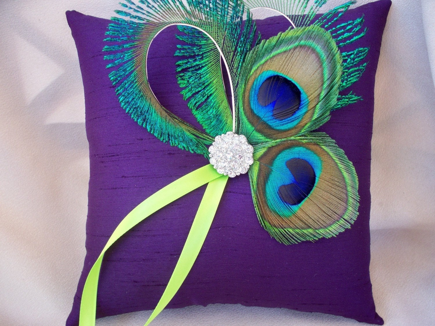 Peacock Feather Dark  Purple Lime Green Rhinestone Accent Bridal Wedding Ring Bearer Pillow