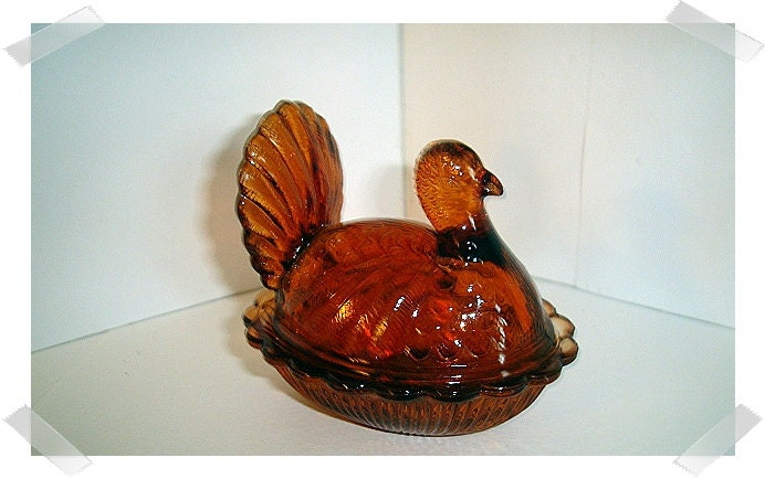 Small Glass Turkey Dish/Dark Amber/Last One in this color - kathyscraftroom55
