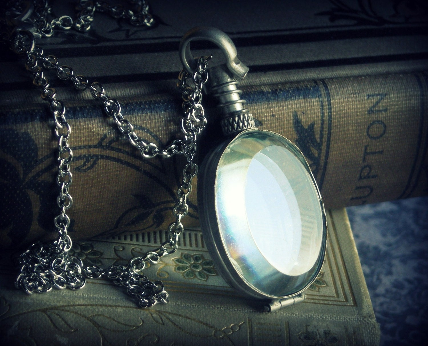 DISCOUNTED - Looking Glass ... antiqued glass silver locket victorian alice in wonderland necklace - DawningLightDesigns